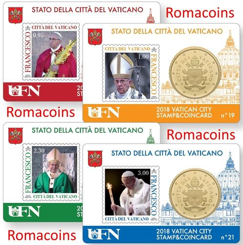 4 Vatican Coincard 50 cents Year 2018 Pope Francis