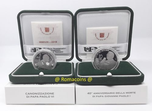 5 + 10 Euro Vatican 2018 Silver Coins Proof