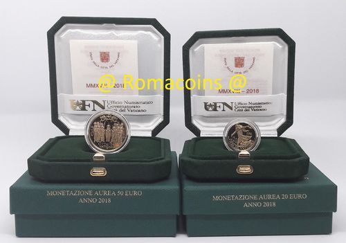 Vatican 20 + 50 Euro 2018 Gold Coins Proof