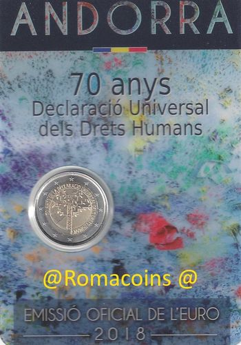 Coincard Andorra 2018 2 Euro 70 Years of Human Rights