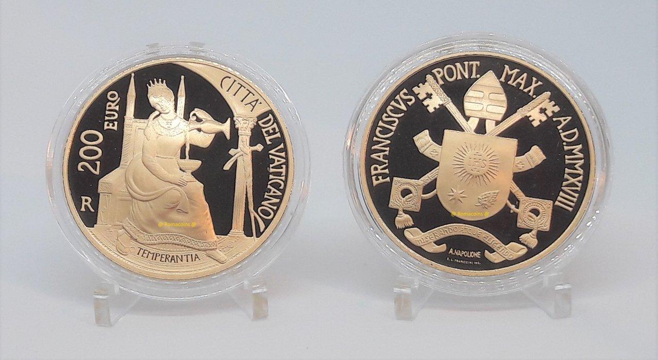 200 euro vaticano 2018 oro fondo specchio proof romacoins - Sterlina oro 2017 fondo specchio ...