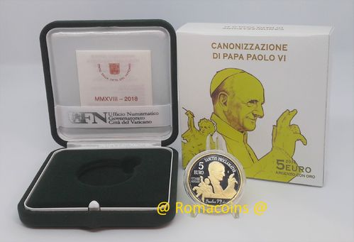 5 Euro Vatican 2018 Canonization of Paul VI Gold and Silver
