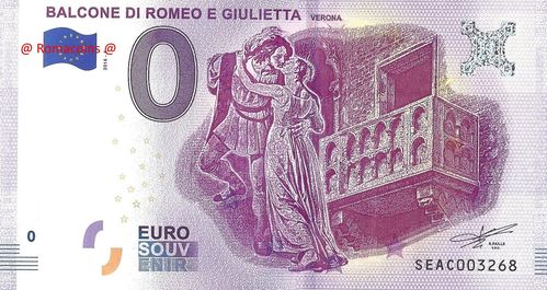 Tourist Banknote 0 Euro Souvenir Romeo and Juliet