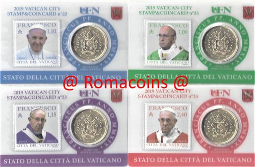 4 Vatican Coincard 50 cents Year 2019 Pope Francis