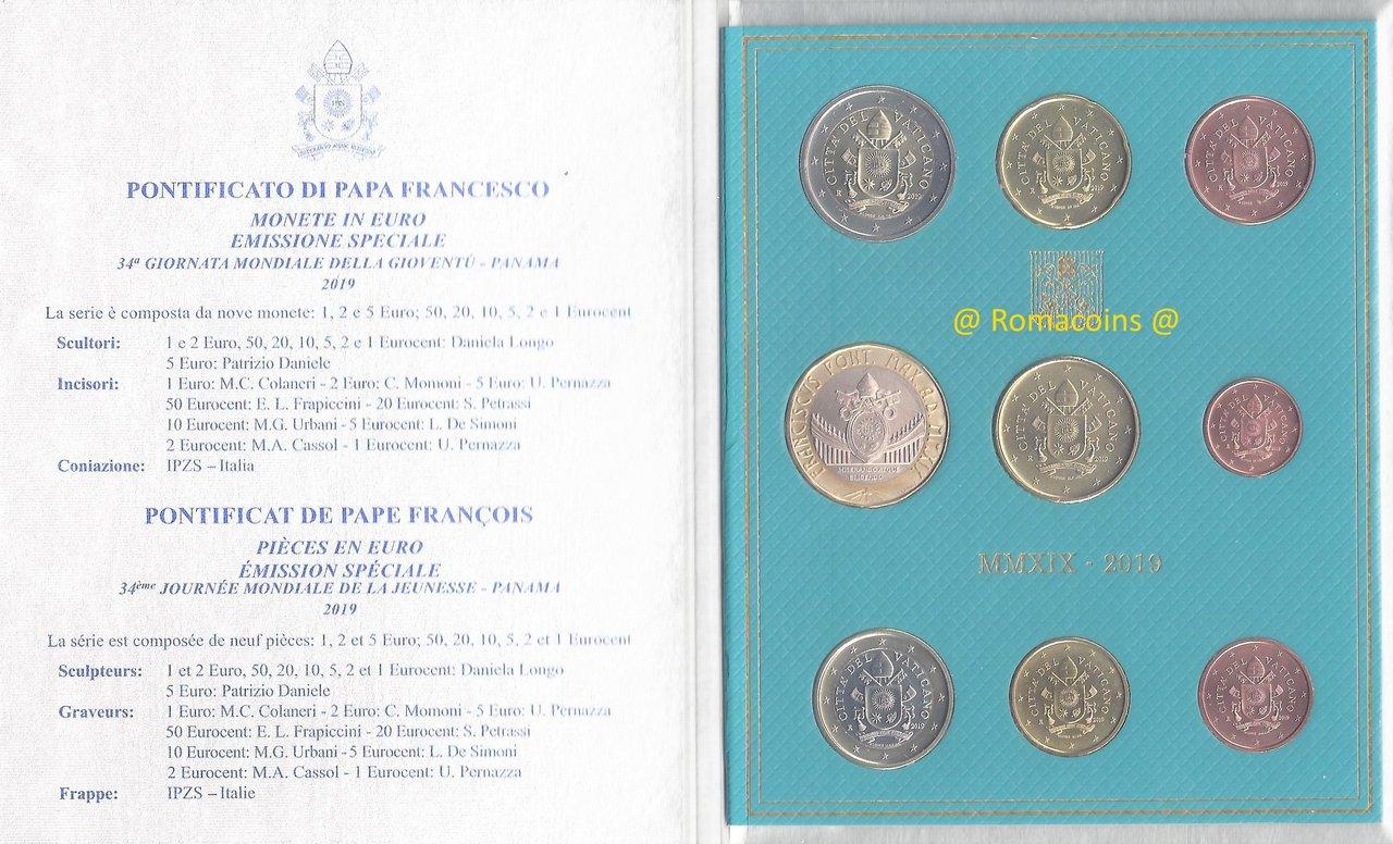 Vatican Bu Set 2019 With 5 Euro Coin Bimetallic New