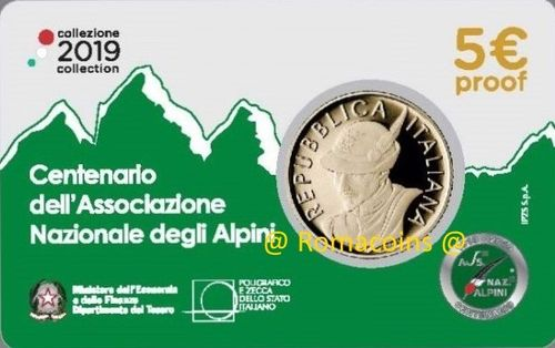 5 Euro Italy 2019 Coin 100 Years Alpini Association Proof