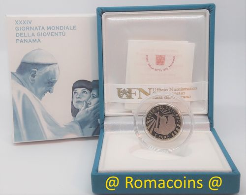 5 Euro Vatican 2019 Bimetallic World Youth Day Panama Proof