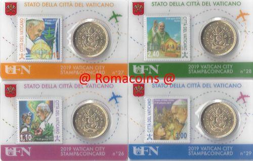 4 Vatican Coincard 50 cents Year 2019 Pope Francis Travels
