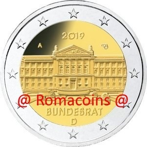 2 Euro Commemorativi Germania 2019 Bundesrat Zecca F
