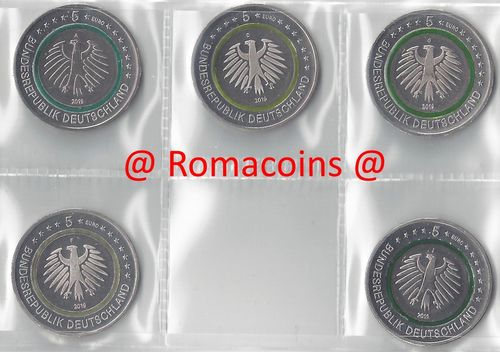 5 Euro Coins Germany 2019 Subtropical Zone 5 Mints ADFGJ